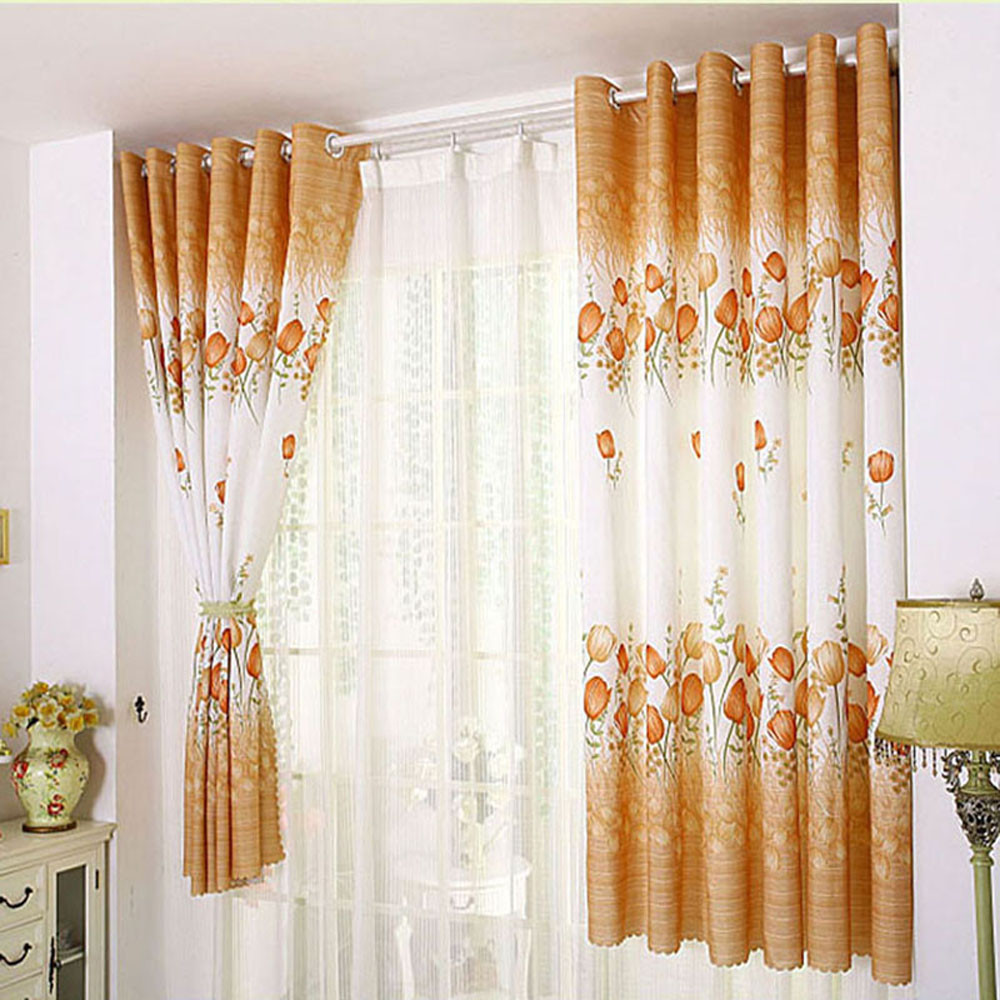 Modern Tulle Curtains Tulips Printed Curtains For Living