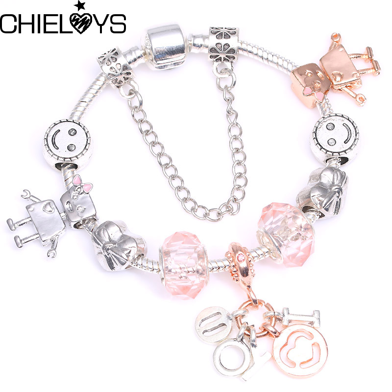 "CHIELOYS Write ""I love you"" Pendant Charm Bracelets & Bangles With Bella Bot Bead Brand Bracelet For Women Friendship Gift"
