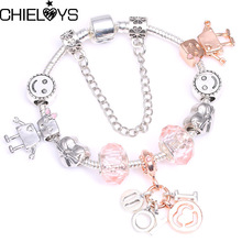 "CHIELOYS Write ""I love you"" Pendant Charm Bracelets & Bangles With Bella Bot Bead Brand Bracelet For Women Friendship Gift"