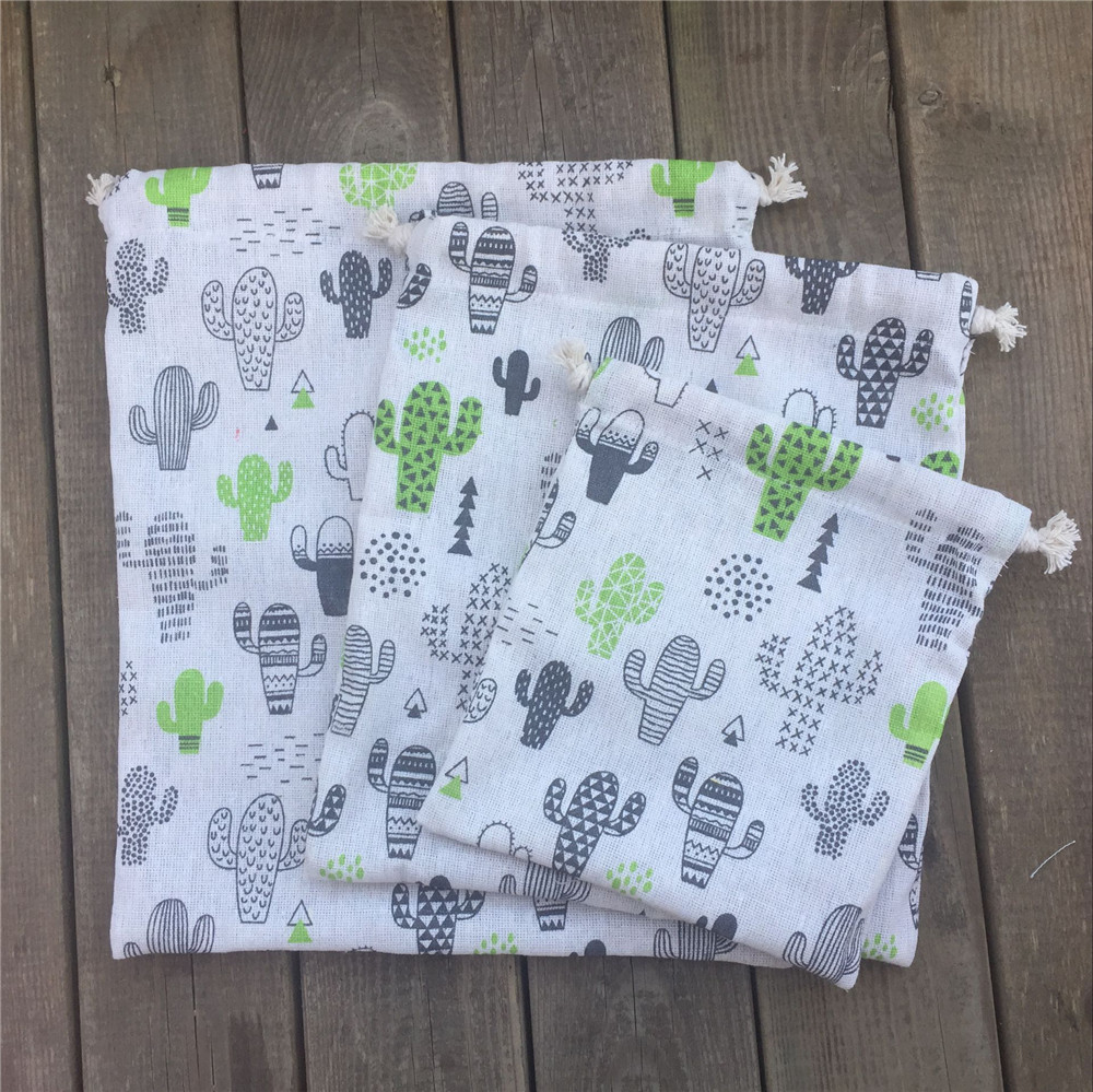 YILE 1pc Cotton Linen Drawstring Party Gift Bag Printed Cactus Sorted Pouch N8923e