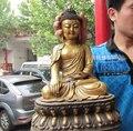 004658 16 Tibet Folk fane Bronze gild molten Ru Lai Sakyamuni Tathagata Buddha Statue