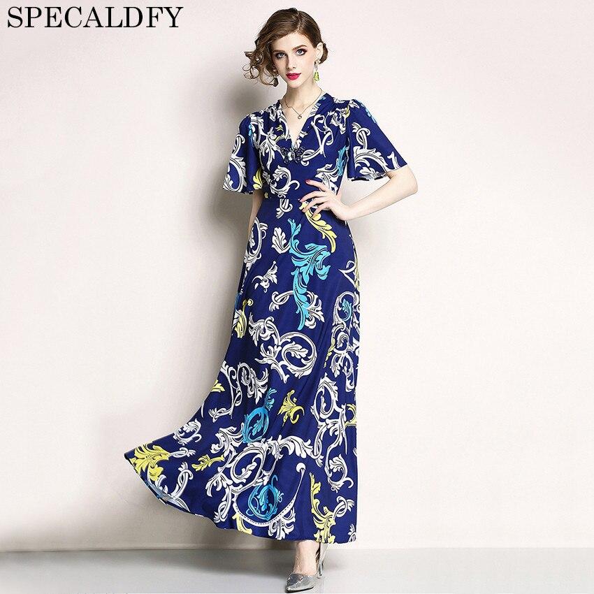 Robes de créateurs piste 2018 haute qualité Robe d'été femmes à manches courtes élégante longue Maxi Robe grande balançoire robes Robe Femme