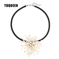 TDQUEEN Freshwater Pearl Choker Necklace Handmade Women Fashion Pearl Flower Choker Necklace 2017 New Christmas Gift Jewelry