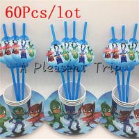 60pcs Lot Mask Man Cartoon Baby Shower Decoration Birthday Party Straws PJ Theme Paper Cups Kids