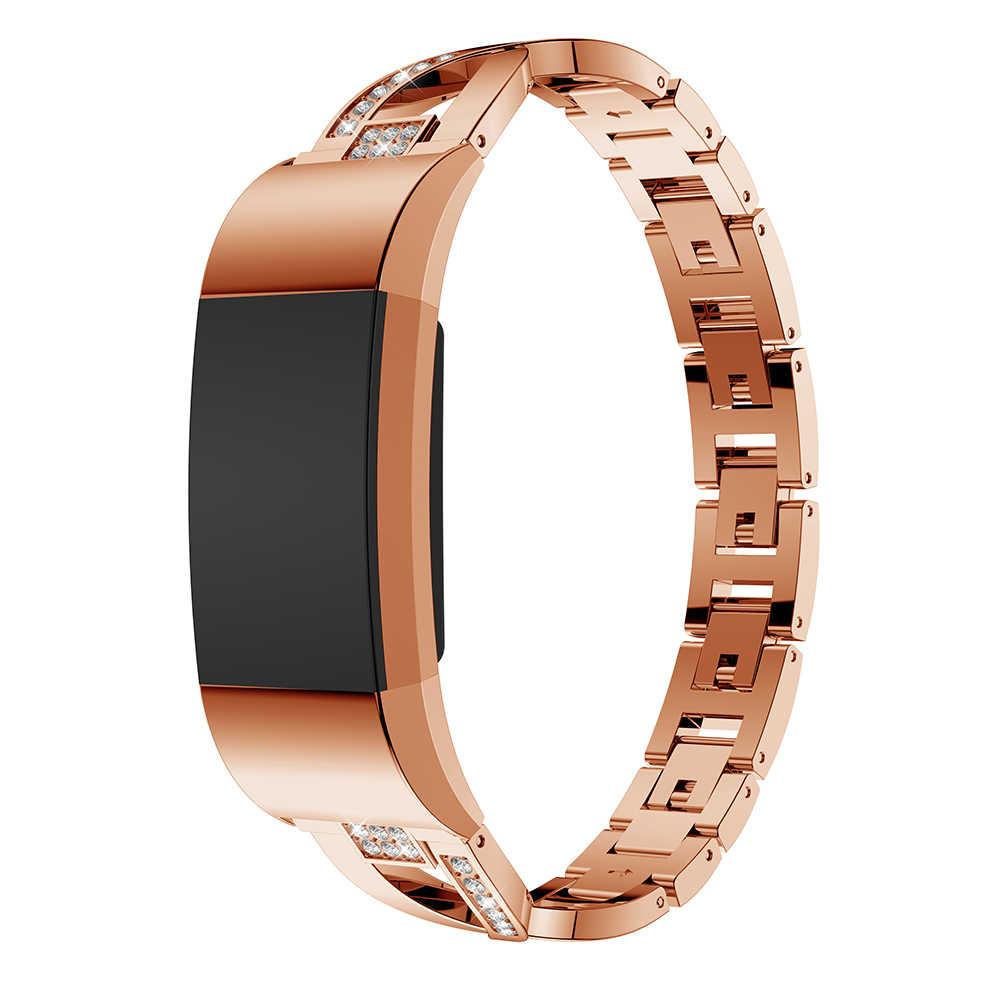 Saat kayışı Fitbit şarj 2 için kayış yedek Metal bilezik ayarlanabilir sapanlar Fitbit için charge2 saat kordonları ile Rhinestone