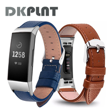 Black Leather Smart Watch band for Fitbit Charge 3/4 Replacement Wristband Strap for Fitbit Charge 4 Band Smart Accessorie