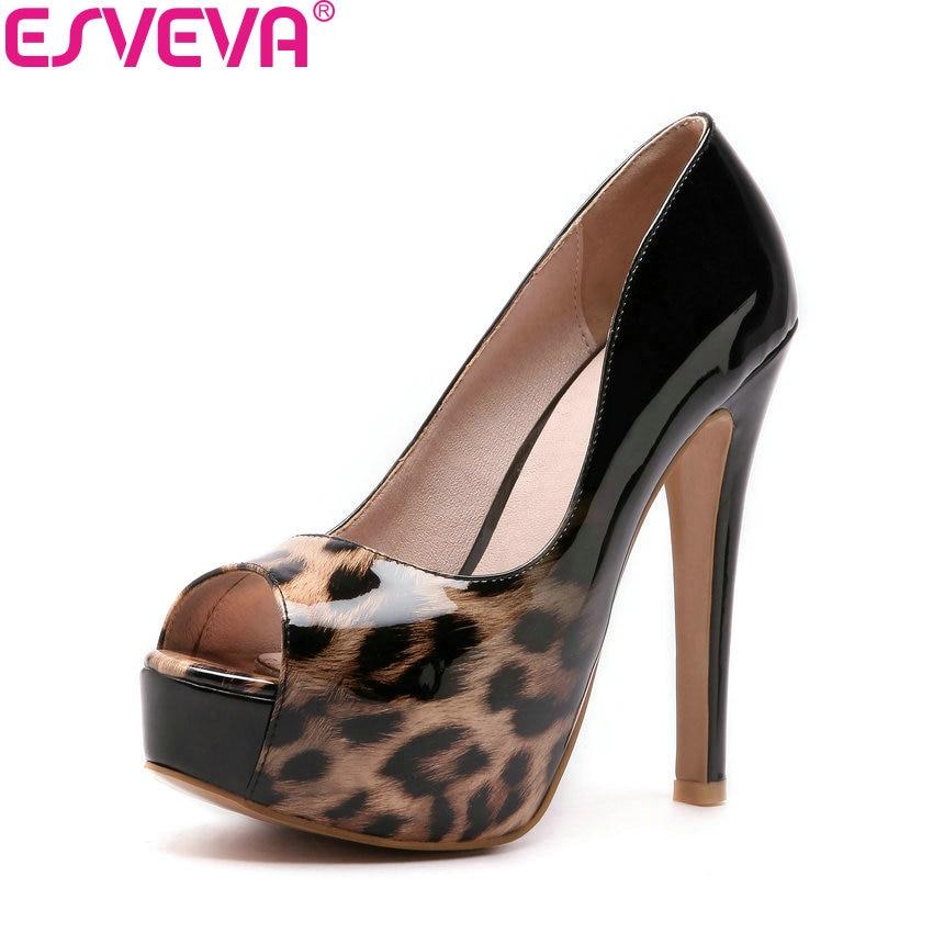 ESVEVA 2018 Women Pumps Sexy Printed Leather PU Shoes Thin Super High Heels Peep Toe Platform 3cm Women Fashion Shoes Size 34-43 цена