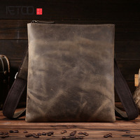 AETOO The first layer of leather shoulder bag diagonal package crazy horse leather men bag business fashion