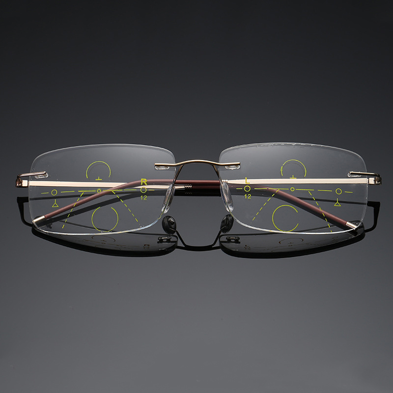 7cf48f36c Melhor Homens Óculos de Leitura com Caso Óculos De Metal Sem Aro Bifocais Progressiva  Multifocal Óculos de Lente Barato Online Preço.