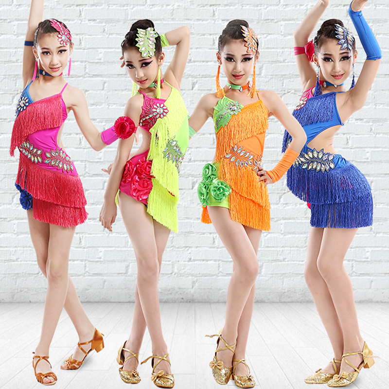 Kids Dresses For Girls Neon Colors Fringe Dress Stage Performance DancewearTango Dress Ballroom Competitive Latin Dress BL011