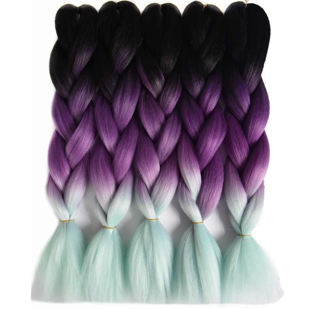 Hair Braids Jumbo Braids Chorliss 24 Ombre Braiding Hair Crochet Braids Jumbo Braids Synthetic Crochet Hair Extension Blacktpurpletmint Green 100g/pack Low Price