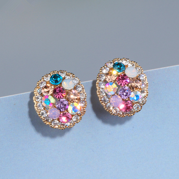 Hot Deals 2018 New Design Charm Multicolor Rhinestone Stud Earrings for Women  Cute Trendy Crystal Earrings Jewelry Brinco Girls Gift WX086 c9505ff99744