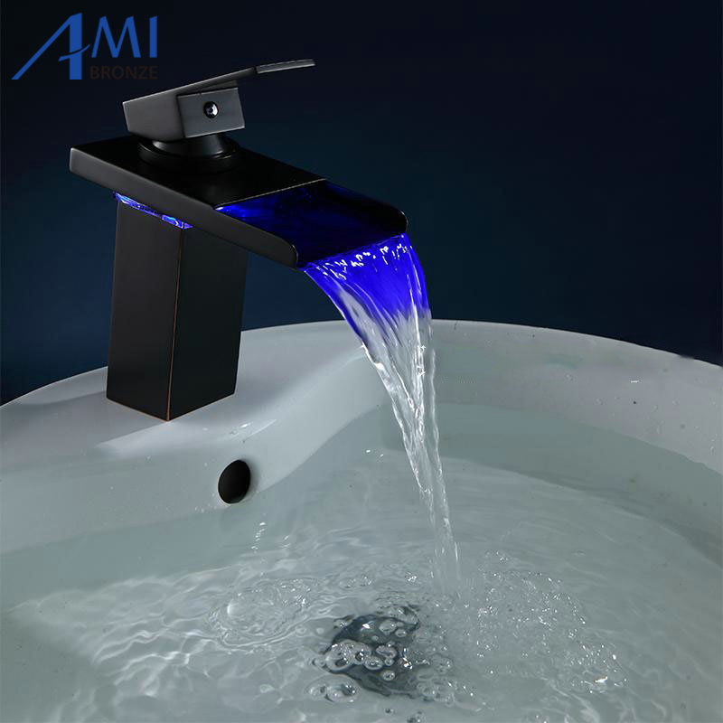 Black Water Powered LED Faucet Bathroom Basin Faucet  Brass Mixer Tap Waterfall Faucets Hot Cold Crane Basin Tap infos bathroom led waterfall water tap