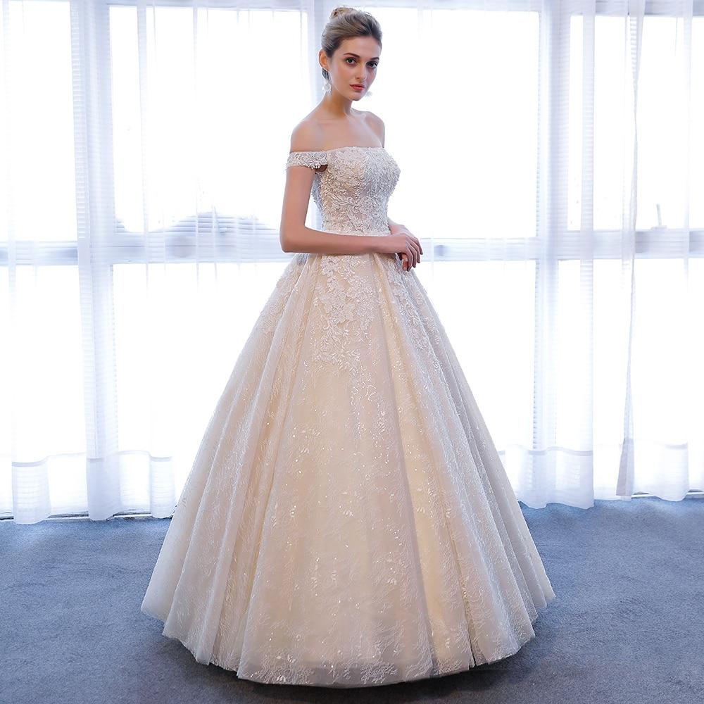 SL 309 Elegant Off Shoulder Bridal Ball Gowns Beads 2018 Cheap Full ...