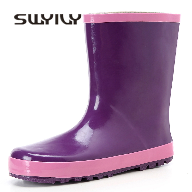 SWYIVY Woman Rainboots Rubber Mid High Water Shoes Autumn 2018 Comfortable Female Waterproof Rain Boots Purple Flat Rainboots