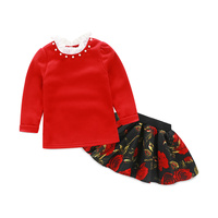 New Fashion 2015 Boutique Outfits Sets Cute Kids Girl Print Floral Long Sleeve Shirts Tops+Tutu Skirts Sets With Floral Clothes
