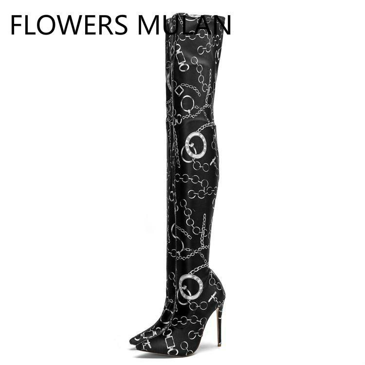 De Impression Pointu Talons Hiver Mode Anneau Bottes En Chaussures Gladiateurs Slip Noir Sur Chaîne Bout Femmes Cuir Haute Cuissardes F7RIqd