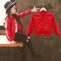 Children PU Cardigan Jacket Vintage Leather Cloak Black Pink Red Girls Spring Winter Bomber Jacket High Quality Abrigos Coat