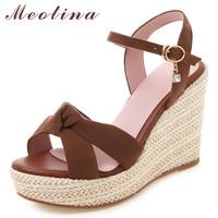 Meotina Women Sandals Summer Shoes Buckle Platform Wedges Heels Shoes Crystal Extreme High Heels Sandals Ladies Plus Size 34 43