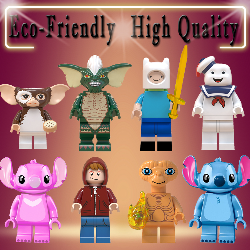 Gremlins Stitch ET Elliott Angie Gizmo Stay Puft Finn Stripe  Building Blocks Toys For Children Gift WM6049(China)