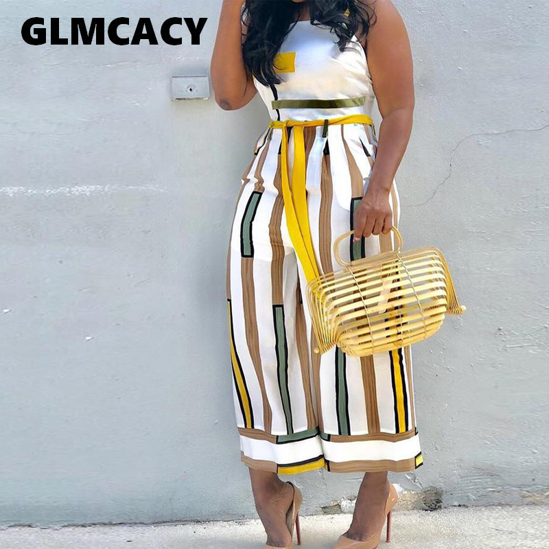 Plus Size Women Summer Sleeveless Palazzo Overalls Contrast Striped Backless Ladies Sashes Wide Leg   Jumpsuit   Wide Leg Overalls