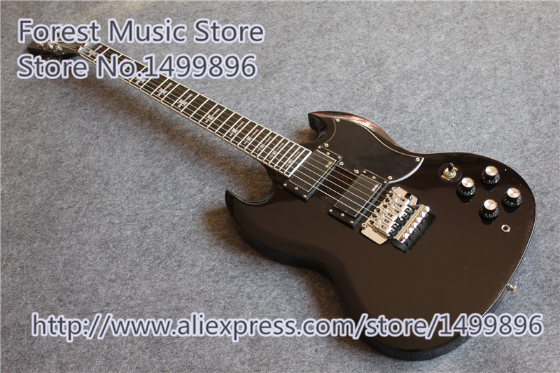 Hot Selling Black Glossy Finish Tony Lommi SG Guitars With Chrome Floyd Rose Tremolo For Sale hot selling china quilted finish musicman ax 40 electric guitar with chrome floyd rose tremolo for sale