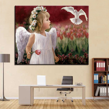 DIY Coloring Pictures By Numbers Oil Painting Angel Child And White Dove Calligraphy Canvas Framework For Living Room Drawing