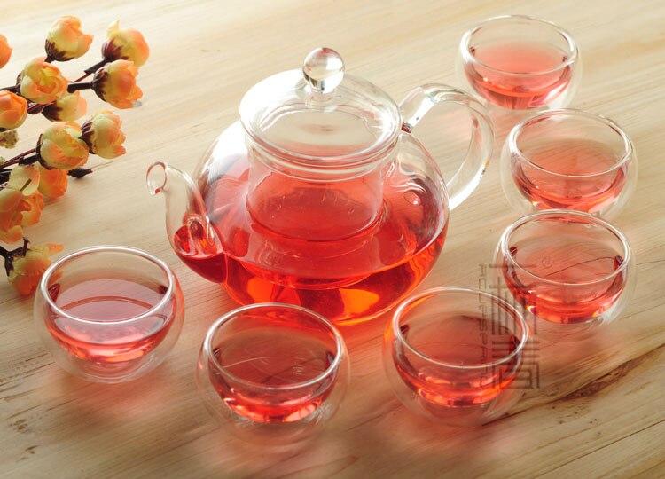Théière en verre 600 ml avec infuseur/filtre + tasse à Double paroi 4/6, ensemble de thé pour infusion blanc/fleur/matcha/noir/vert/thé Pu'er chinois