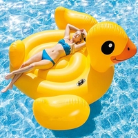 2-3 Person Giant Inflatable Yellow Duck Pool Floats Summer Fun Water Floating Island Air Swimming Mattress Bed