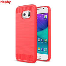 Nephy Soft Case For Samsung galaxy S6 Edge S7 Edge S8 Plus Luxury Carbon fiber Silvery Red Blue Mint Green Back Cell Phone Cover(China)