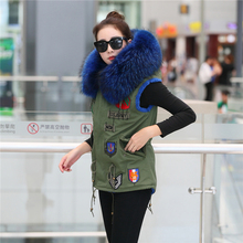 eight colours ladies fur coat 2016 autumn winter sleeveless Hooded 100% actual Large Raccoon fur collar embroidered coat fur vest