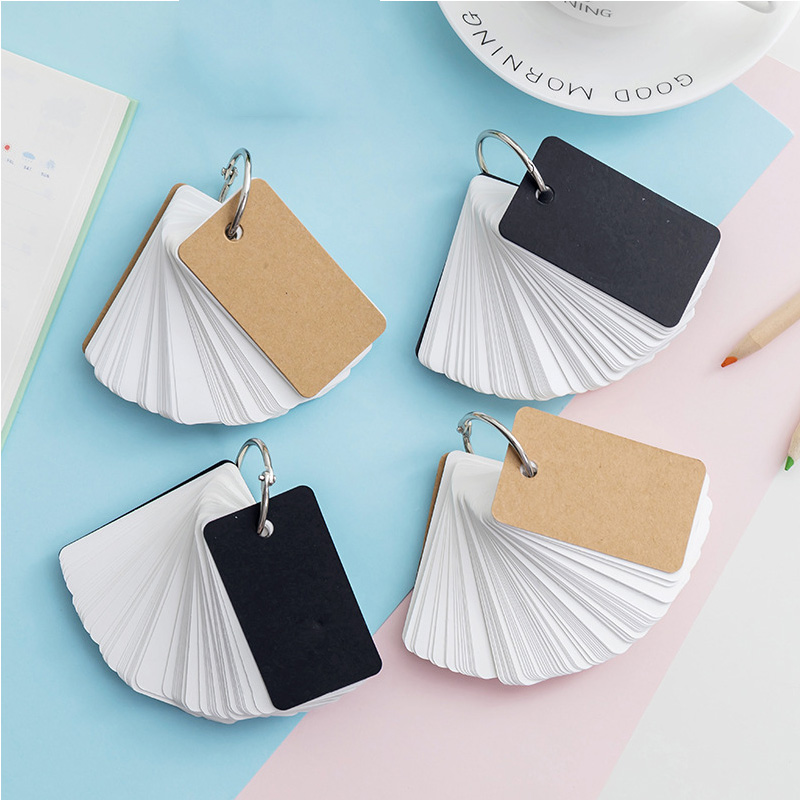 90 Sheets Set Ring Buckle Blank Memo Pad Paper Sticker Mini Word Cards Notepad Portable Memory Card Loose leaf School Supplies in Memo Pads from Office School Supplies