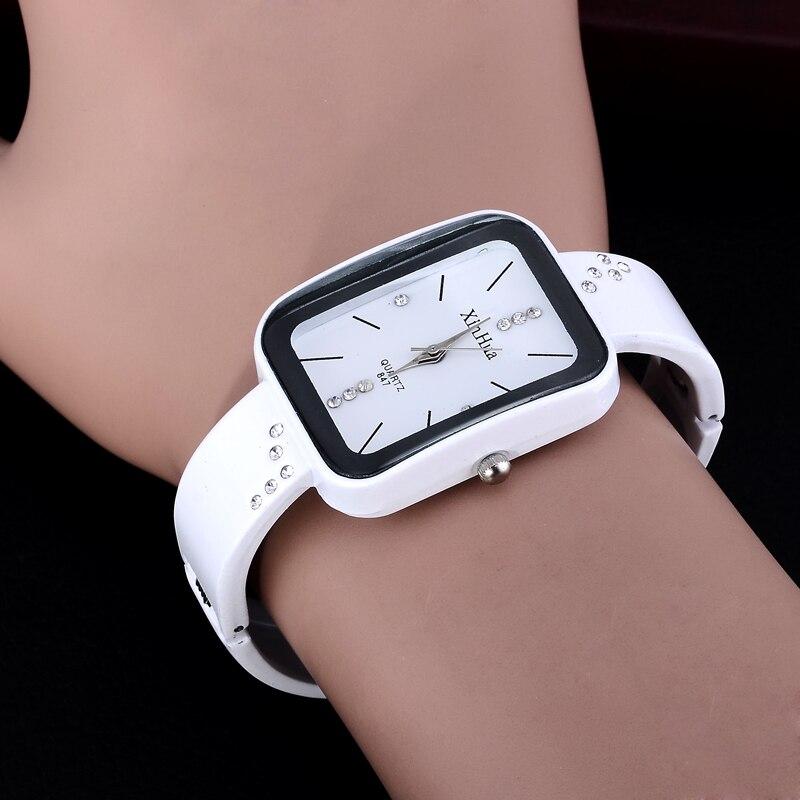 Hot sale new style rectangle watch fashion casual Women elegant wristwatch crystal quartz female bangle watches feminino relojes