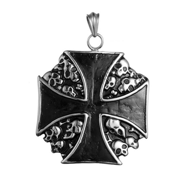 Maltese Cross Retro 316 Stainless Steel Big Pendants, Antique Silver, 75x65x4mm, Hole: 7x11mm