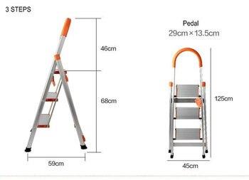 Escalera plegable de 3 escalones, escalera plegable de aluminio, escalera de aluminio con pasamanos largo, pies de goma, juntas de plástico ABS