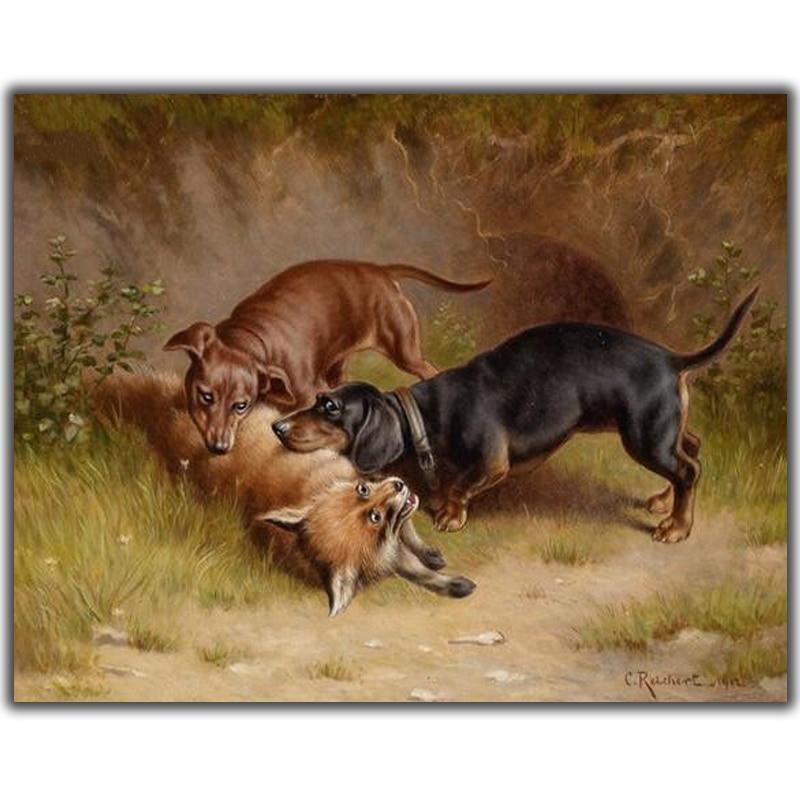 Diy алмазная живопись вышивка крестиком две собаки атакующие волки рукоделие Алмазная Вышивка Полный круглый мозаичный декор смола