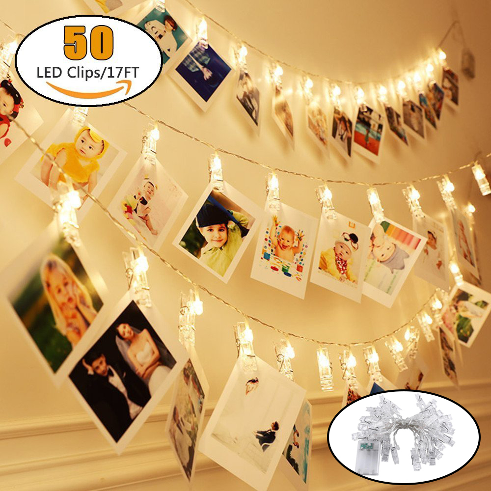 50 LED Photo Clips String Lights Fairy String Lights For Hanging Photos Pictures Cards Ideal Gift For Dorms Bedroom Decoration