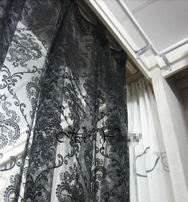 Flower fashion window screening organza fabic flocked light curtain for living room