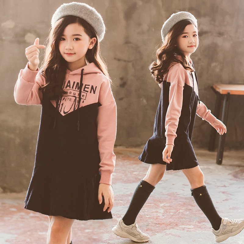 Autumn Kids Dress For Girls 3 4 5 6 7 8 9 10 11 Years Ruffles Long Sleeve Sweatshirt Hooded Dress Casual Dresses Meisjes Kleding 2 3 4 5 6 7 8 years girls dress thick velvet autumn winter kids dresses for girls ruffles long sleeve children princess clothing