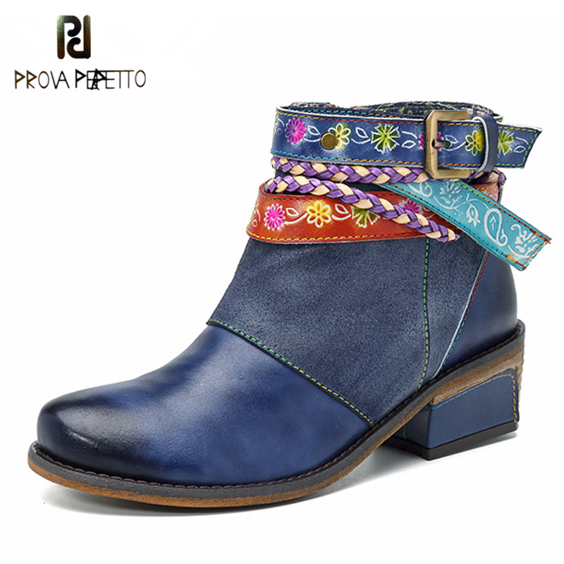 Prova Perfetto New Genuine Leather Women Boots Vintage Bohemian Ankle Boots Zipper Low Heel Ladies Shoes