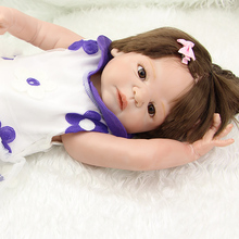 Brown Eyes 23 Inch Reborn Newborn Baby Doll Realistic Princess Girl Babies With Dress Kids New Year Gift