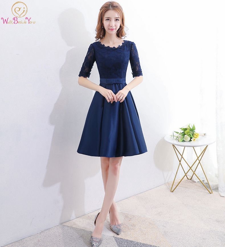 Walk Beside You Navy Blue   Bridesmaid     Dresses   Lace Satin Half Sleeves A-line Short Wedding Guest Party Honor Maid Women Cheap