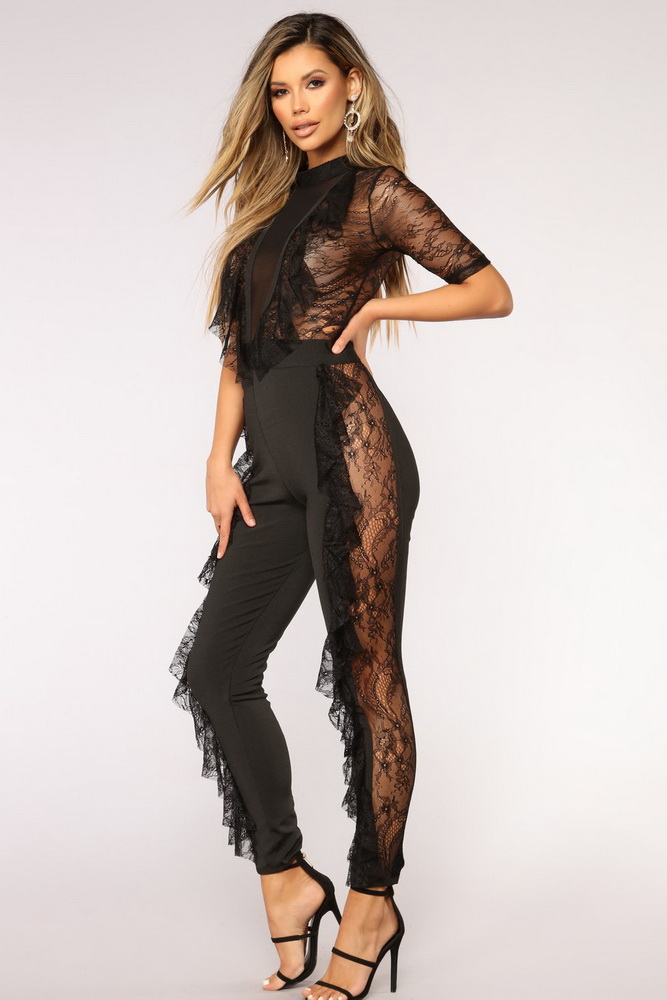 OKAYOASIS Free Shipping Sexy Women O-neck Mesh Bodycon Jumpsuit Autumn Lace Rompers Overalls