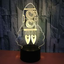 Colorful 3d Creative Vision Night Light Rocket 3d Stereoscopic Lamp Foreign Trade Hot Selling Creative Usb Led Light