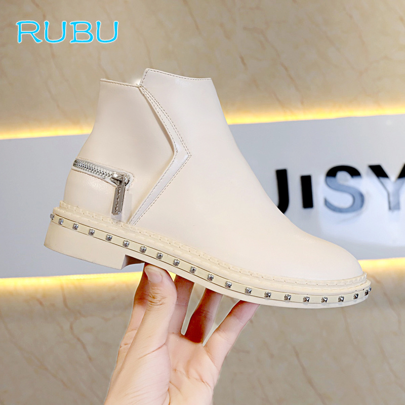 Fashion Leather Boots for Women Mid-Calf Boots Spring Autumn Martin Boots Women's Shoes Thick Short Boots
