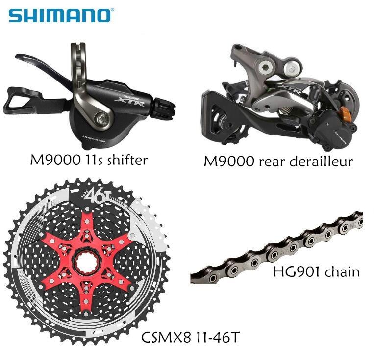 Shimano XTR M9000 4 pièces vélo vélo vtt 11 vitesses kit groupset RD-M9000 manette de vitesse avec SunRace cassette K7 11-vitesse 11-46 T 11-50 T