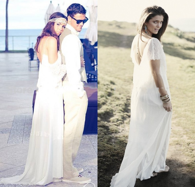 Trend fashion 2015 beach chiffon wedding dresses flowing for Flowing beach wedding dresses
