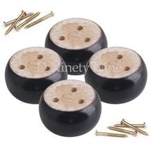 """4 יחידות אלון עץ 9.5x9.5x5 ס""""מ שחור אקליפטוס עץ עגול ריהוט רגליים רגליים 100 kg נושאת משקל עבור ספות ארונות שולחנות מיטת"""