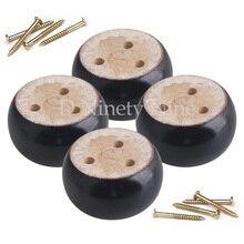 4 adet Meşe Ahşap 9.5x9.5x5 cm Siyah Okaliptüs Ahşap Yuvarlak Mobilya Ayakları Ayak 100 kg rulman Ağırlığı Kanepeler için Dolapları Masaları Yatak