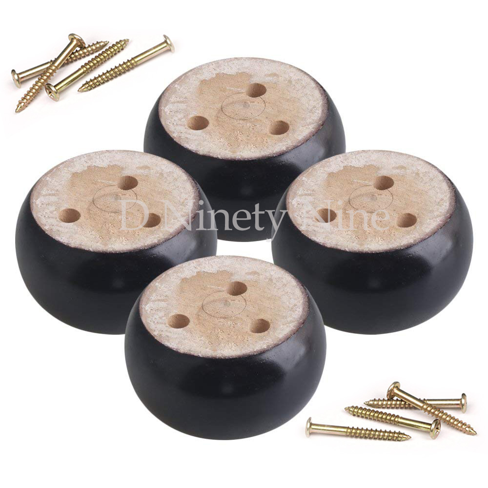 4Pcs Oak Wood 9.5x9.5x5cm Black Eucalyptus-Wood Round Furniture Legs Feet 100kg Bearing Weight For Sofas Cabinets Tables Bed